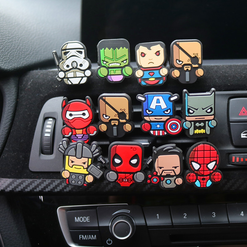 For Marvel Avengers Heros Figure Car Air Condition Vent Perfume Balsam Fragrance Air Freshener Interior Decoration Car styling car outlet perfume air freshener with thermometer lime