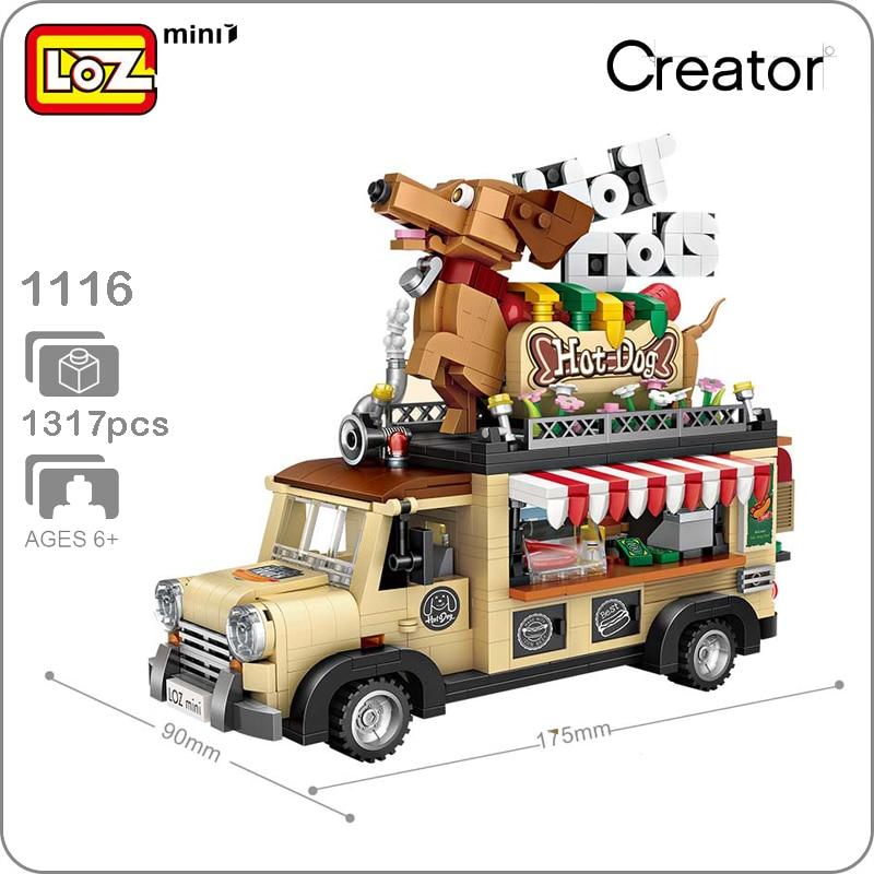LOZ 1116 Hot Dog Fast Food Car Vehicle Animal 3D Model 1317pcs DIY Mini Blocks Bricks Assembly Diamond Building Toy Gift