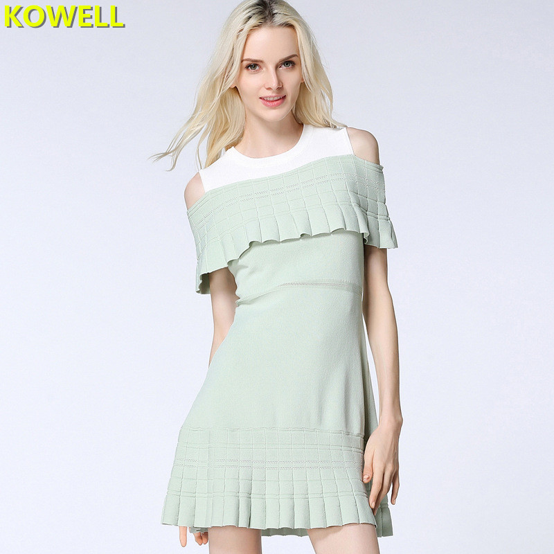 2018 Summer Clothes For Women Sweater Dress Casual Patchwork Color O-Neck Ruffles Loose Knitted Sleeveless Empire A-Line Dresses embroidered casual loose knitted dress flower long sleeved dress o neck line plain dresses fall casual dresses
