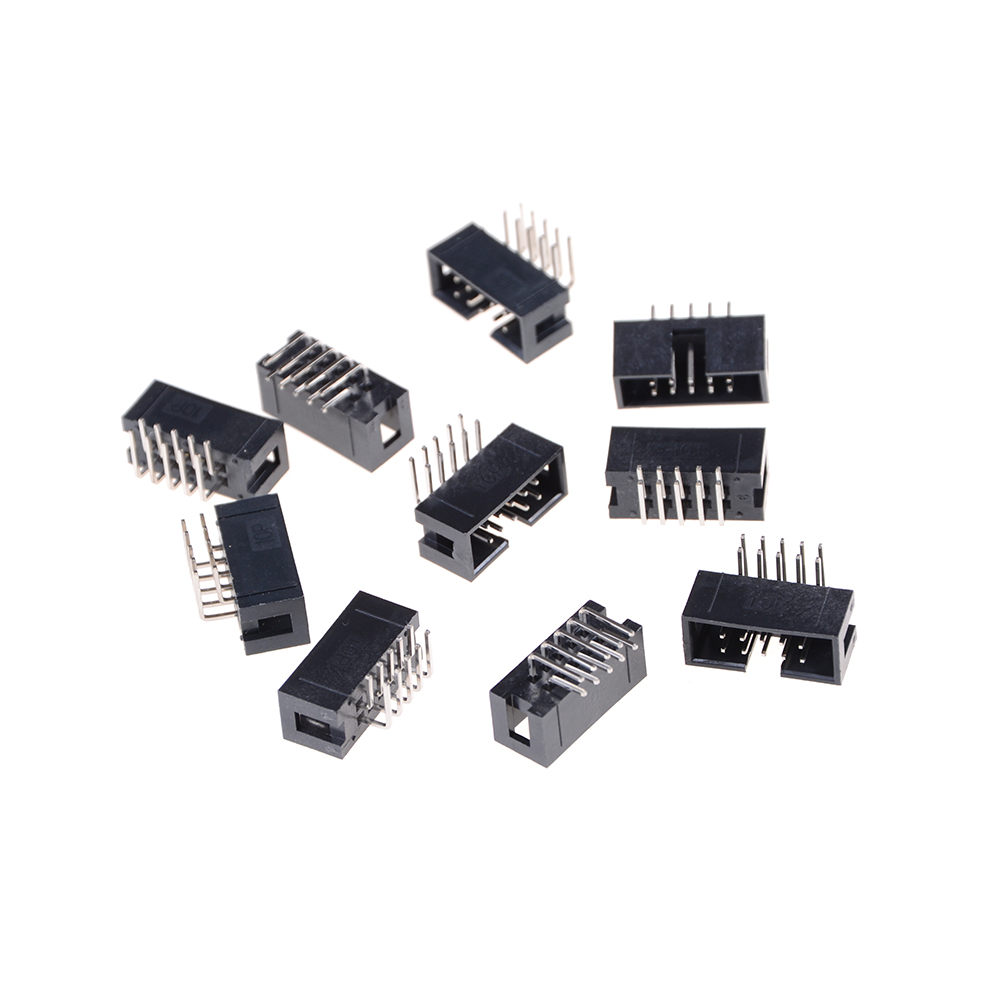 10pcs DC3 <font><b>10</b></font> <font><b>Pin</b></font> 2x5Pin Right <font><b>Angle</b></font> Double Row Pitch 2.54mm Double-spaced <font><b>Pin</b></font> Male IDC Socket Box <font><b>Header</b></font> Connector High Quality image