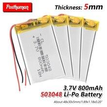503048 перезаряжаемая батарея 3,7 V 053048 800MAH литий-полимерная батарея для MP3 MP4 Bluetooth gps Беспроводная стерео гарнитура планшет