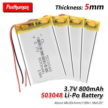 503048 Rechargeable battery 3.7V 053048 800MAH lithium polymer Battery For MP3 MP4 Bluetooth GPS wireless stereo headset tablet