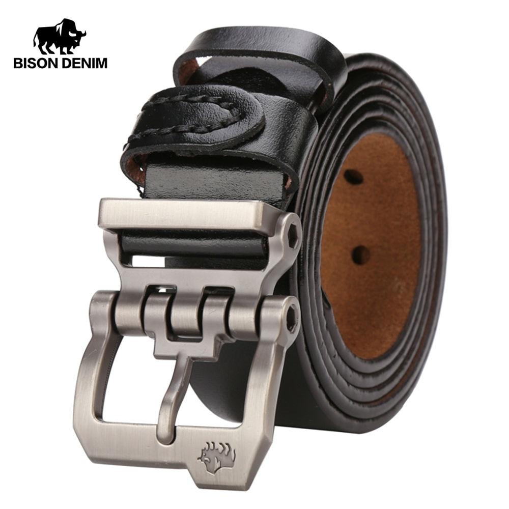 Bisonte DENIM cinturón para los hombres de piel de vaca de cuero genuino personalidad hebilla de calidad hombre Correa Vintage Jeans N71223