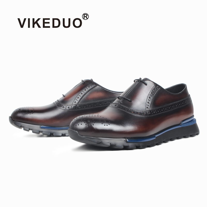 VIKEDUO Full Brogues Men s Sneakers Patina Men s Shoes Genuine Leather Sports Leather Shoes Handmade