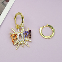UMGODLY Luxury Brand Asymmetry POP Earrings Colorful Cubic Zirconia Star Women Fashion punk rock Jewelry New Arrival