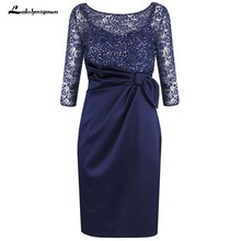 Dark Navy 3/4 Long Sleeves Mother of the Bride Dress with Lace Plus Size Gowns Dresses For Wedding