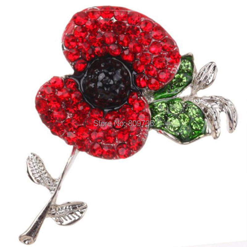 New Women Red Large Poppy Flower Brooch Crystal Diamante Pin Badge