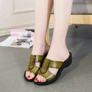 Image 5 - NEW Summer Mother Sandals Fashion Ladies Soft and Comfortable Casual Large Size Shoes Woman Slope with Slippers W04