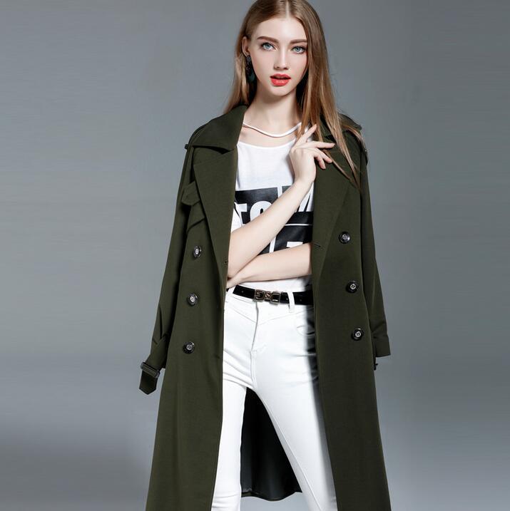 Armée vert beige noir ultra long trench manteaux femmes 2019 printemps et automne lâche tricoté pardessus femmes survêtement grande taille