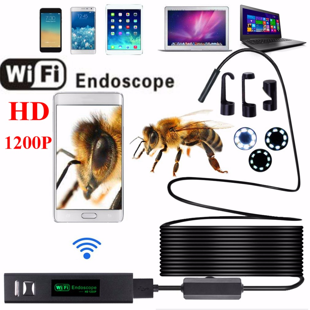 8MM OD 8LED HD1200P Wifi Endoscop Android IOS Waterproof WIFI Inspection Mini Camera Borescope Snake Video Cam  Built In Battery 7mm lens mini usb android endoscope camera waterproof snake tube 2m inspection micro usb borescope android phone endoskop camera