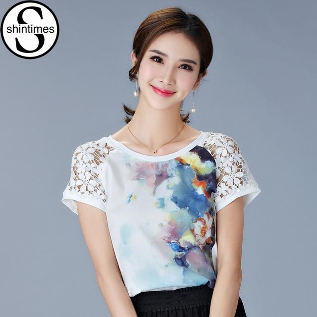 Flor de encaje Mujeres de la Camiseta de Manga Corta Camiseta de Algodón Para Mujer Tops 2017 de Impresión en Blanco Camiseta Femenina de Corea Ropa de La Camiseta Femme