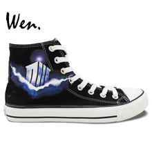 Wen Hand Painted Shoes Doctor Who Birthday Gifts Design Custom High Top Black Canvas Sneakers for Men Women's Gifts