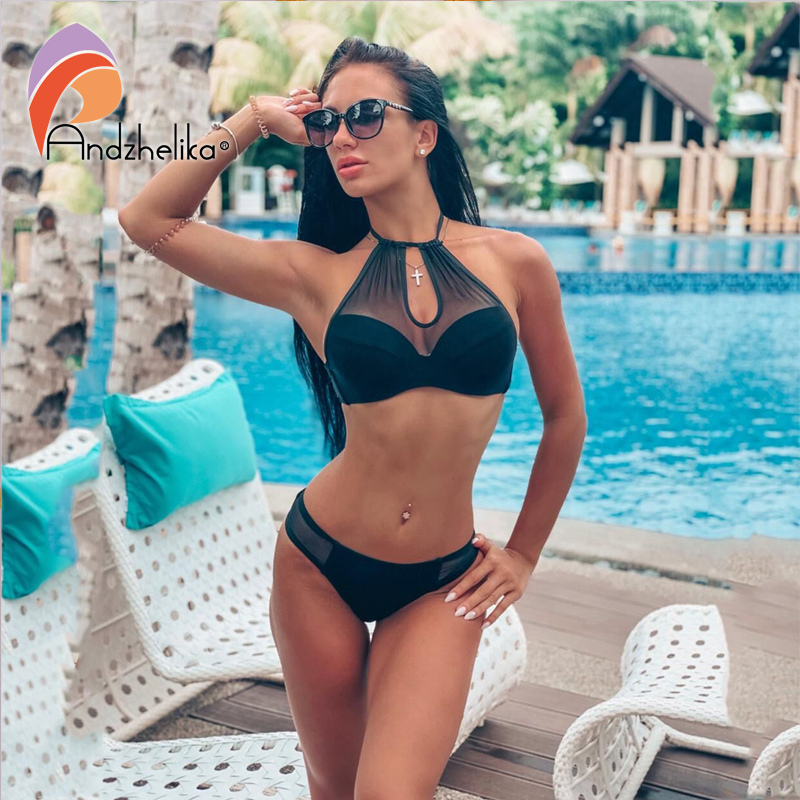 Andzhelika Sexy Solid Mesh Bikinis 2019 Women Swimsuit Push Up Bikini Set Strapless Bathing Suit Swimwear Female Monokini AK1902