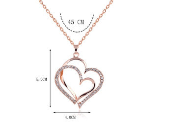 Crystal Double Heart Pendant Necklaces 3