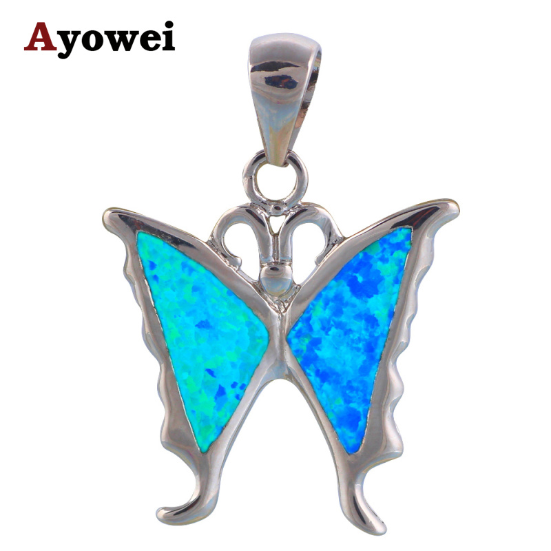 charms best gift party items for women Blue Fire Opal stamp Silver Nacklace Pendants Fashion jewelry OP536A