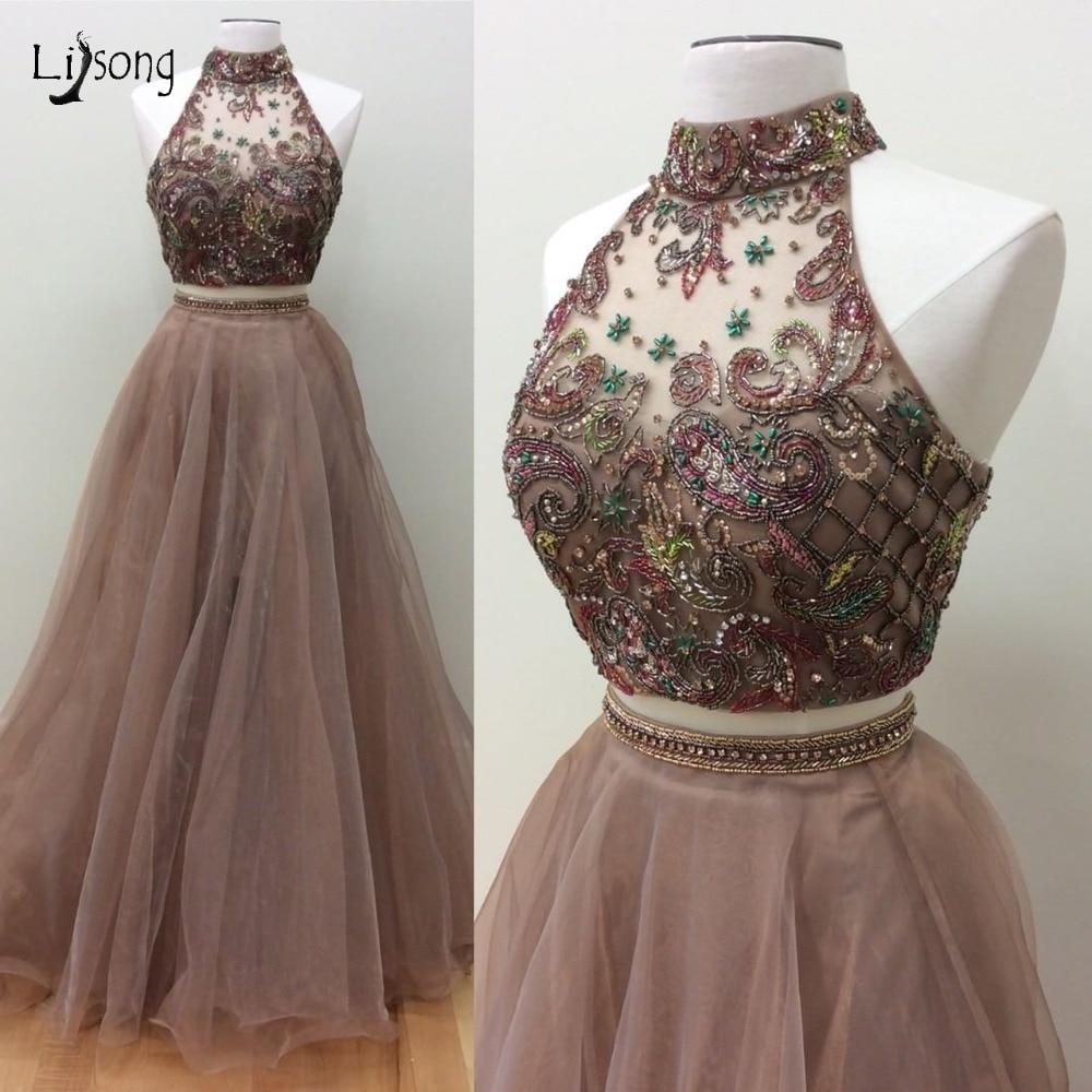 Pretty Color Embroidery 2 Pieces   Prom     Dresses   Sparkle Crystal Beaded A-line Lace Evening Gowns 2019 Vestido De Festa Longo
