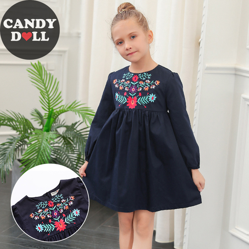 CANDYDOLL New Autumn Girls Dress Cotton National Wind Baby Girl Embroidered Long-sleeved Princess Dresses Kids O-neck Costume girl