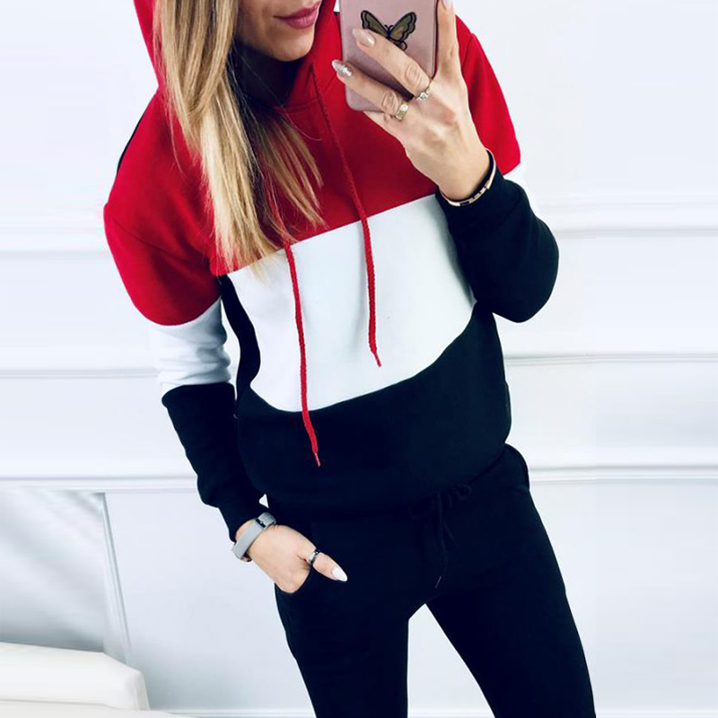 Women Long Sleeve Patchwork Hoodies Pant Two Piece Set Casual Tracksuit Sport Sweatsuit Solid Color Female Autumn Winter Outfits
