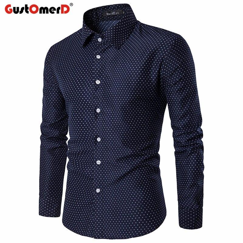 Gustomerd Демисезонный моды горошек Для мужчин рубашка Slim Fit Повседневное Для Мужчин's Рубашки для мальчиков высокое качество с длинным рукавом ...