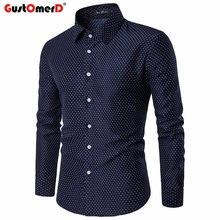 GustOmerD Primavera Outono Moda Polka Dot Camisa dos homens Casual Slim Fit  Camisas dos homens De · 2 Cores Disponíveis 70ef9fc8998f4