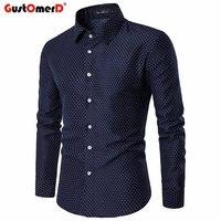 GustOmerD Spring Autumn Fashion Polka Dot Men S Shirt Slim Fit Casual Men S Shirts High