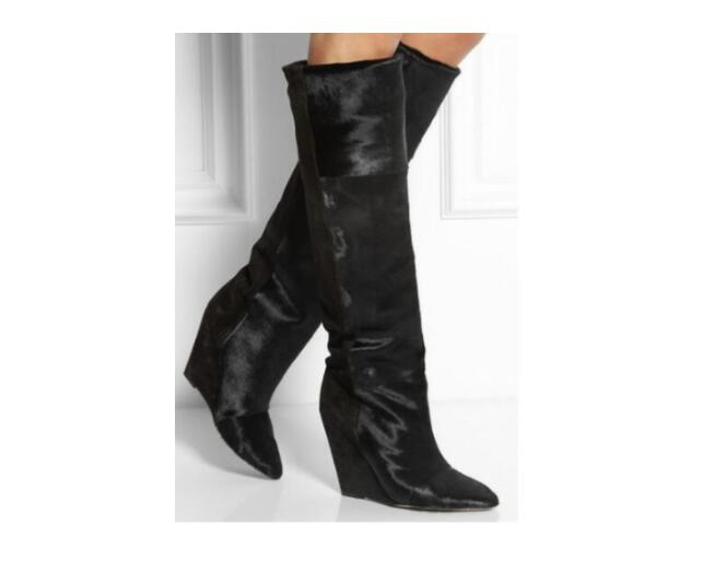 Autumn Winter Black Leather Wedge Hidden Heel Botines Mujer Long Slim Overknee Boots Pointed Toe Biker Knee Luxury Shoes WomanAutumn Winter Black Leather Wedge Hidden Heel Botines Mujer Long Slim Overknee Boots Pointed Toe Biker Knee Luxury Shoes Woman