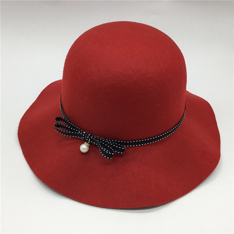 2018 Korean Fashion Ladies Wool Felt Church Hat With Ribbon Pearl Bow knot Autumn Winter Wide Brim Hat Sombrero Mujer in Women 39 s Fedoras from Apparel Accessories