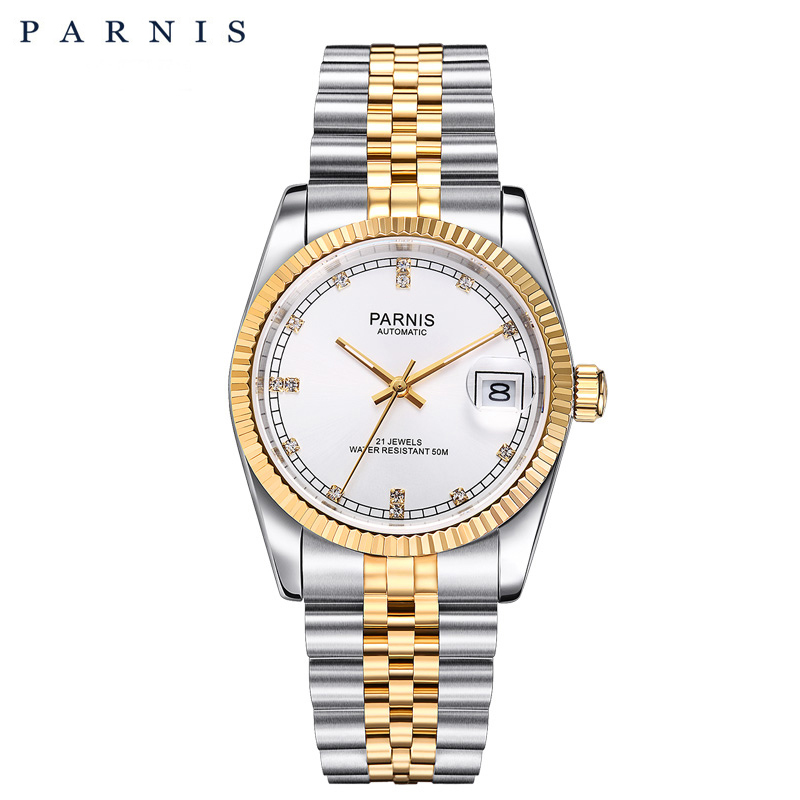Parnis для мужчин часы 2018 Элитный бренд золото автоматические для мужчин для женщин Элегантный Алмаз браслет из нержавеющей часы PA2112