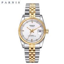 Парнис Для мужчин часы 2018 Элитный бренд золото автоматические часы Для мужчин Для женщин элегантный Diamond браслет из нержавеющей часы PA2112