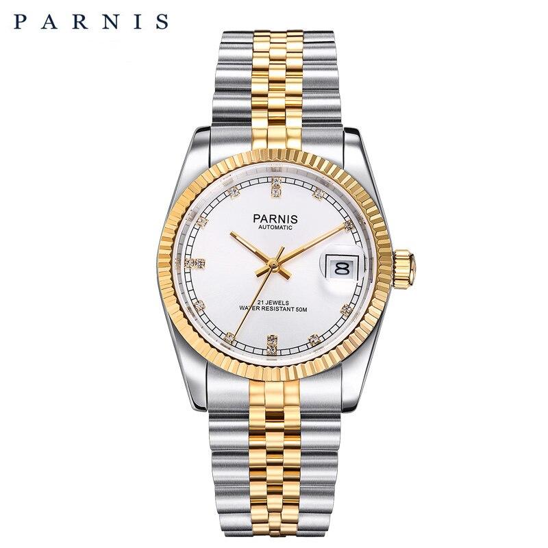Parnis Men watch 2018 Luxury Brand Gold Automatic Watch Men Women Elegant Diamond Stainless Bracelet Watches PA2112