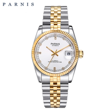 Top Luxury Mechanical Men's Watches PARNIS Full Stainless Steel Gold Automatic Watch Men relogios Rhinestones Bracelet Watches