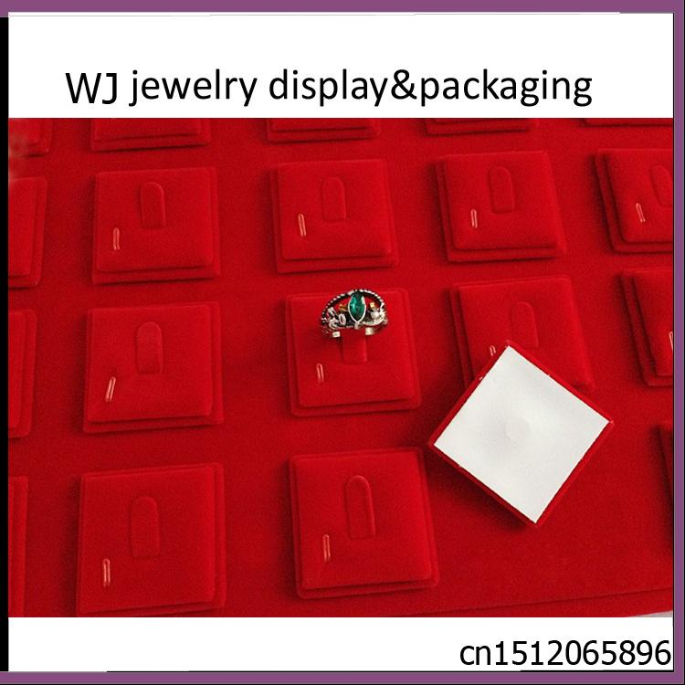 Wholesale Portable Red Velvet Ring Jewelry Display Tray Case Wedding