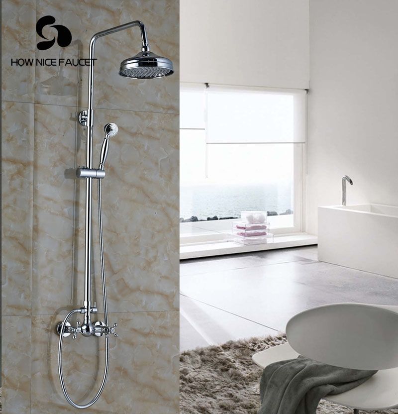 Bathroom Rainfall Shower Set With Hand Shower Wall Mount Brass ...