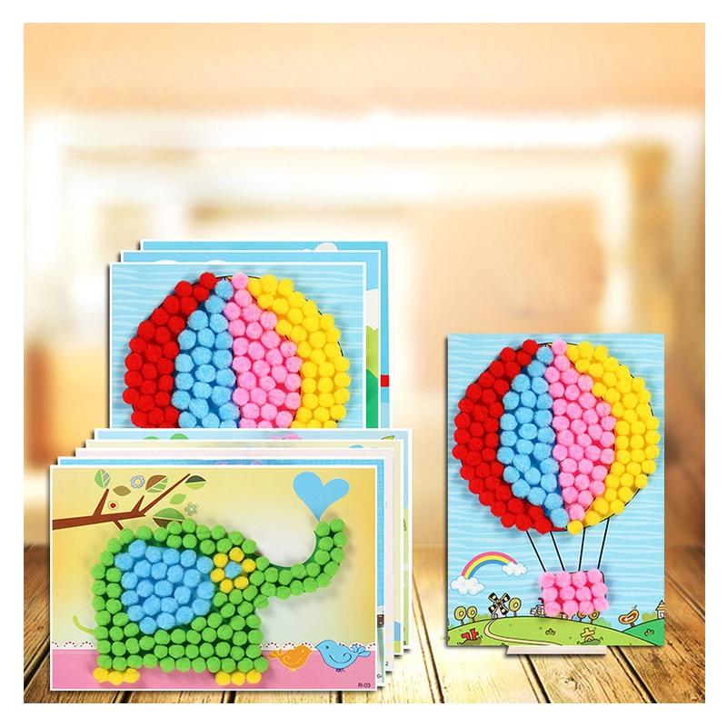 1 Pcs Kinder Handgemachte Material Cartoon Puzzles Kreative Diy Plüsch Ball Malerei Aufkleber Kinder Pädagogisches Handwerk Spielzeug
