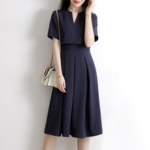 AULEAD Women Korean Style Large Sizes Summer Casual Party Retro Blue  Evening Dress 883626545357