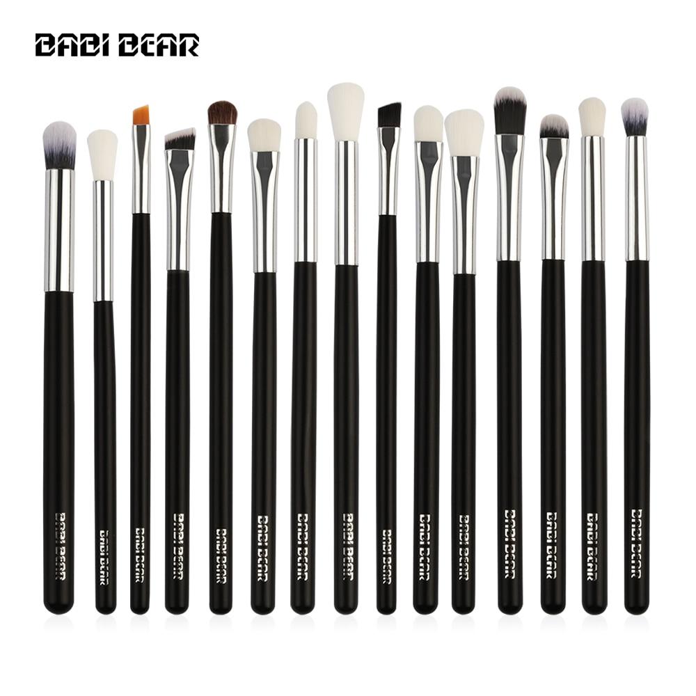 15Pcs Silver/Black Professional Makeup Brushes Set Make Up Brush Tools Kit Eye Liner Shader Natural Synthetic Hair High Quality professional eye brush 15pcs