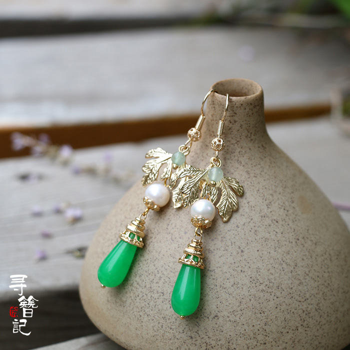 Malay Earring green stone leaf drop pearl exaggerated Natural Green Dragon 925 Silver Earrings