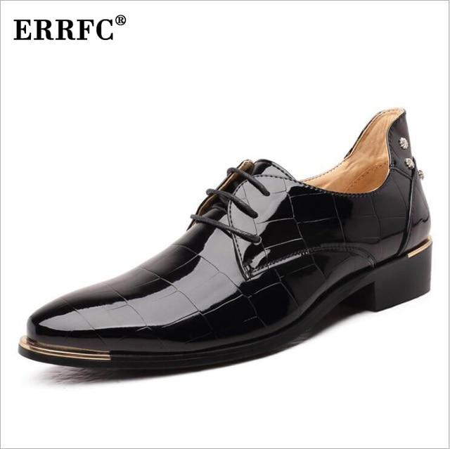 ERRFC England Style Men s Black Dress Shoes Patent Leather Shoes For Party  Blue Qshoes Rivets Wedding Shoes Plus Size EU38-47 3a19595cc59f