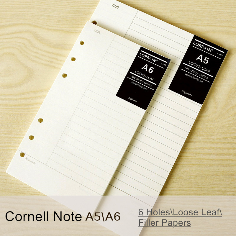 Free shipping loose-leaf notebook refill filofax a5 a6 hardiron daily memos paper 40 sheets spiral notebook filler papers dokibook refill a5 loose leaf filler paper color album clip page notebook paper