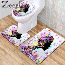 Zeegle Набор ковриков для ванной комнаты с принтом бабочки 3 шт. Декор для ванной Впитывающий Коврик для ванной коврик для ванной нескользящий коврик для душа