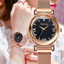 Luxury Rose Gold Women Watch Starry Sky Magnetic Quartz Wristwatch Waterproof Female Clock relogios feminino montre femme