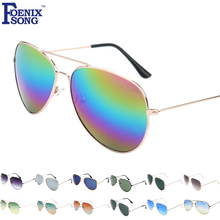 FOENIXSONG Brand New Aviator Pilot Men Sunglasses Sun Glasses for Women Oculos De Sol Mirrored UV