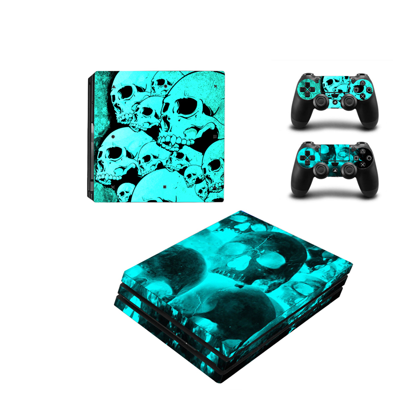 Skull Head Vinyl Skin Sticker Protector For Sony Playstation 4 Pro Game Console+2PCS Controller Skin Decal Cover For PS4 Pro