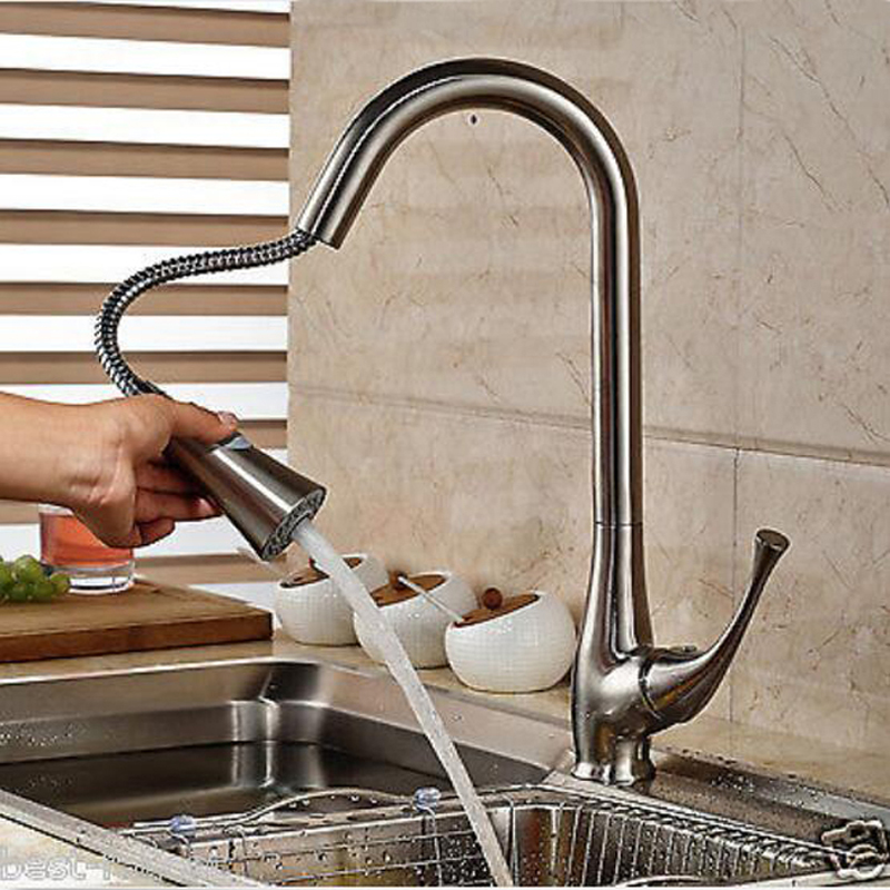 Deck Mounted Nickel Brushed Kitchen Faucet Pull Out Vessel Sink Mixer Tap NEW newly arrived pull out kitchen faucet gold sink mixer tap 360 degree rotation torneira cozinha mixer taps kitchen tap