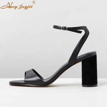 Female Shoes Woman Ladies Sandals Black Solid Ankle-Wrap Buckle Super High Square heels Basic Mature Elegant 2019 Patent Leather