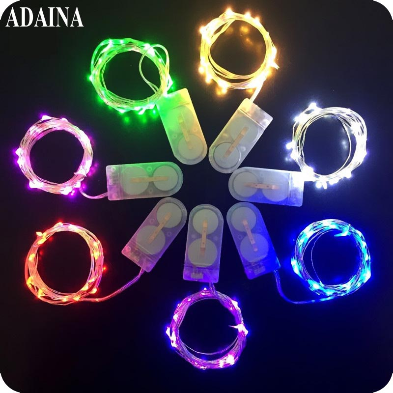 10PCS / Lot 2M 20 LEDS Batteridrevet LED Lights Outdoor Kobber Wire Fairy String Lights Lampe For Christmas Decoration For Home