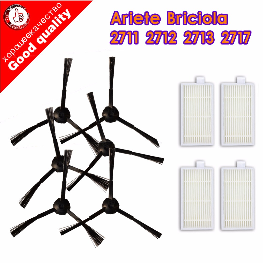 6pcs Side Brush+4pcs Filter Hepa For Ariete Briciola 2711 2712 2713 2717 ROBOT HOFER Cleaner Parts Accessories