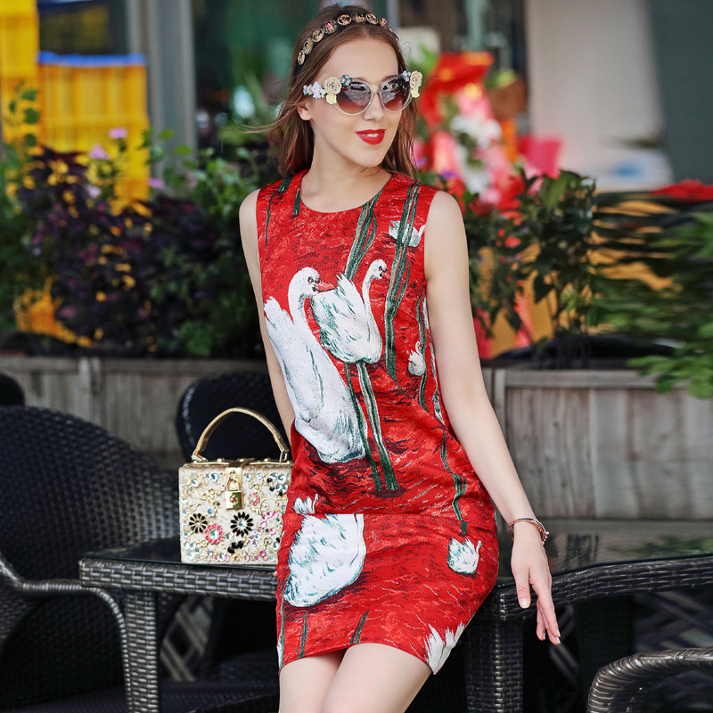 高品質 2017 ファッションデザイナーの滑走路ドレス女性のベスト赤白鳥プリントボタンカジュアルストレートノースリーブドレス  グループ上の レディース衣服 からの ドレス の中 1