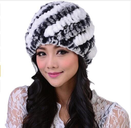 New Fashion Winter Cap Women's Winter Hats Real Rex Rabbit Fur Hats Female Gorro Knitted Beanie Hat Winter Fur Hats For Women