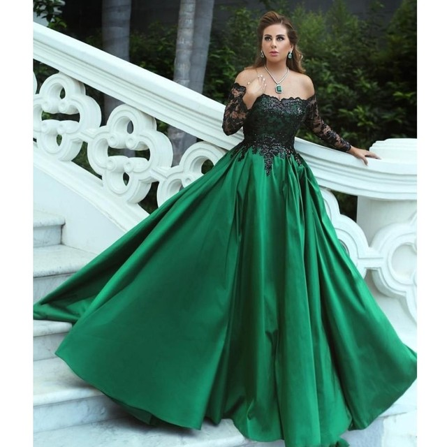 d1d57a716520 Emerald Green Formal Party Dresses Abiye With Shiny Black Lace Full Sleeves Off  Shoulder Appliques Lebanon Long Gowns Women